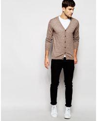 ASOS - Gray Merino Wool Cardigan In Brown for Men - Lyst