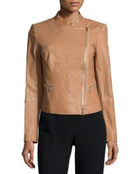 Lafayette 148 New York - Multicolor Cropped Leather Moto Jacket - Lyst