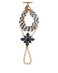 Oscar de la Renta Blue Crystal Flower Hand Bracelet