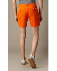 Burberry | Orange Cotton Twill Chino Shorts for Men | Lyst