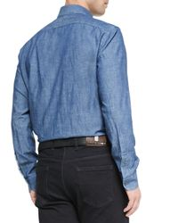 Ermenegildo Zegna - Blue Woven Denim Shirt for Men - Lyst