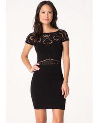 Bebe Black Sia Cage Skirt Dress
