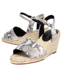 KG by Kurt Geiger Gray Naomi Leather Espadrille Wedge Heel Sandals