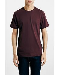 TOPMAN Purple Slim Fit Crewneck T-Shirt for men