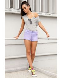 Forever 21 - Multicolor Frayed Colored Denim Shorts - Lyst