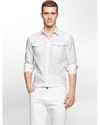 Calvin Klein - White Jeans Slim Fit Geometric Jacquard Shirt for Men - Lyst