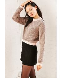 Silence + Noise Brown Connor Wave Stitch Sweater