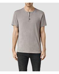 AllSaints - Natural Sever Short Sleeve Henley T-shirt for Men - Lyst