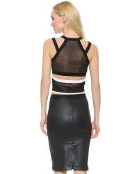 Helmut Lang Opposing Opacity Sleeveless Top - White/black