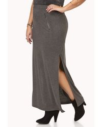 Forever 21 Gray Zippered Slit Maxi Skirt