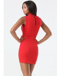Bebe | Red Embellished Mock Neck Dress | Lyst