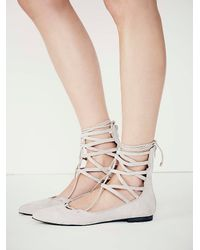 Free People - Gray Shay Lace Up Flat - Lyst