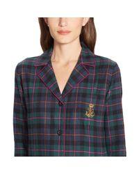 Ralph Lauren - Green Plaid Cotton Pajama Set - Lyst