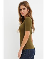 Forever 21 - Green High-neck Ribbed Top - Lyst