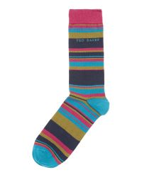 Ted Baker | Pink Stripe Dress Socks for Men | Lyst