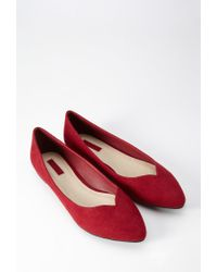 Forever 21 Red Faux Suede Pointed Flats