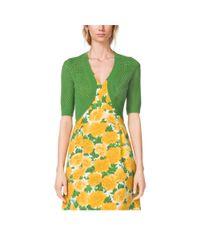 Michael Kors - Green Cotton And Cashmere Pointelle Shrug - Lyst