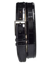 Mezlan Black Eelskin Belt for men