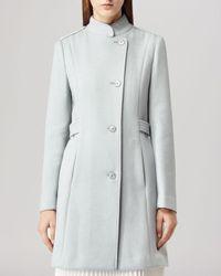 Reiss Blue Coat - Havana Stand Collar