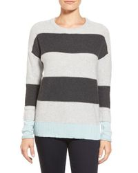 Caslon - Gray Contrast Cuff Crewneck Sweater - Lyst
