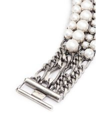Lanvin - Metallic Glass Pearl Curb Chain Bracelet - Lyst