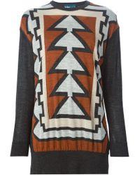 Kolor - Gray Geometric Pattern Sweater - Lyst