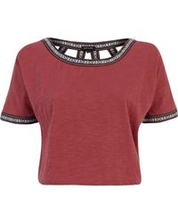 River Island Red Cut Out Back Western Crop Top