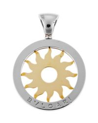 BVLGARI   Metallic Women's Tondo Sun Stainless Steel And 18k Yellow Gold Pendant   Lyst