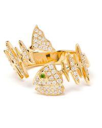 Kamushki Metallic 18k Gold, Diamond And Sapphire Knuckle Ring