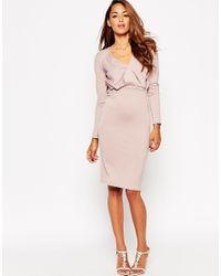 ASOS - Pink Petite Jersey Crepe Deep Plunge Midi Dress - Lyst