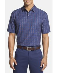 Cutter & Buck - Blue Classic Fit Drytec Plaid Polo for Men - Lyst