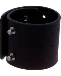 Rick Owens - Black Leather Perforated Wide Cuff for Men - Lyst