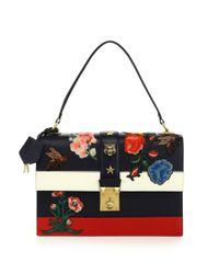 Gucci Metallic Cat Lock Striped Leather Top-handle Bag