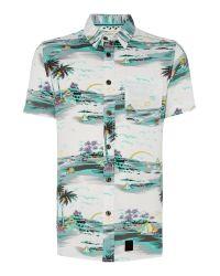 Anerkjendt White Obi Classic Fit Short Sleeve Shirt In Ocean View for men