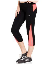 Nike Orange Racer Cropped Dri-fit Leggings