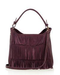 Oasis - Purple Henne Fringed Hobo - Lyst