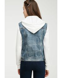Forever 21 - Blue Hooded Denim Jacket - Lyst