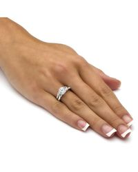 Palmbeach Jewelry - Metallic 2 Piece 3.60 Tcw Round Cubic Zirconia Bridal Ring Set In 10k White Gold - Lyst