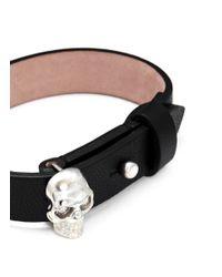 Alexander McQueen Black Skull Nappa Leather Bracelet