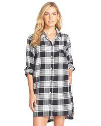 DKNY Black Plus Plaid Long-sleeve Boyfriend Sleepshirt