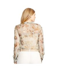 Ralph Lauren | Gray Floral Sheer Georgette Blouse | Lyst