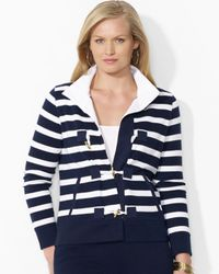 Ralph Lauren | Blue Plus Stripe Toggle Cardigan | Lyst