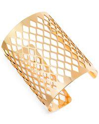 Guess - Metallic Gold-Tone Open Texture Cuff Bracelet - Lyst