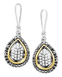 Macy's | Metallic Diamond Teardrop Earrings In 14k Gold And Sterling Silver (1/8 Ct. T.w.) | Lyst