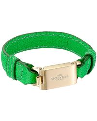 COACH Green Leather Horse And Carriage Id Bracelet