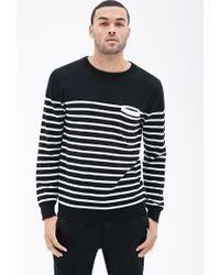 Forever 21 Black Nautical Striped Pocket Sweater for men
