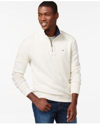 Tommy Hilfiger White French Rib Quarter-zip Mock-collar Sweater for men