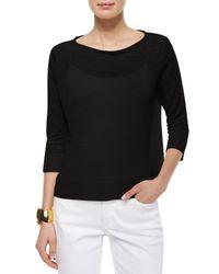 Eileen Fisher - Black 3/4-sleeve Fine Linen Top - Lyst