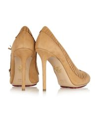 Charlotte Olympia Natural Fringed Monroe Suede Pumps