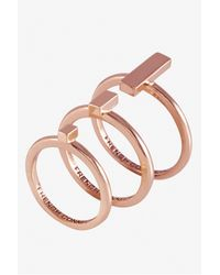 French Connection | Pink Perpendicular Bar Ring Set | Lyst